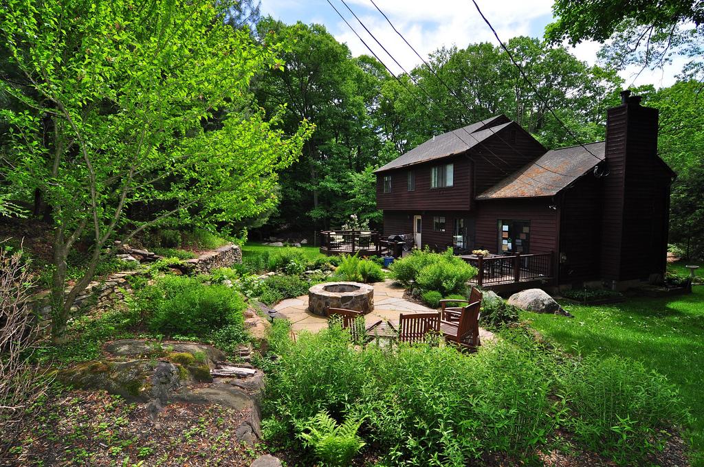 Adirondack Style Pond Landscape, Hudson River Town