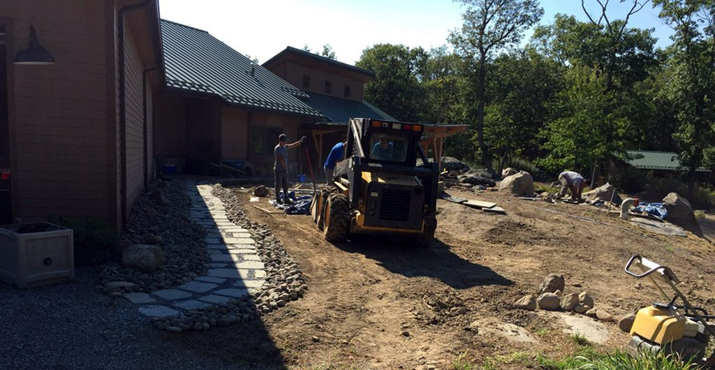 Beginning Construction – Water Feature With River Rock Pathways 03