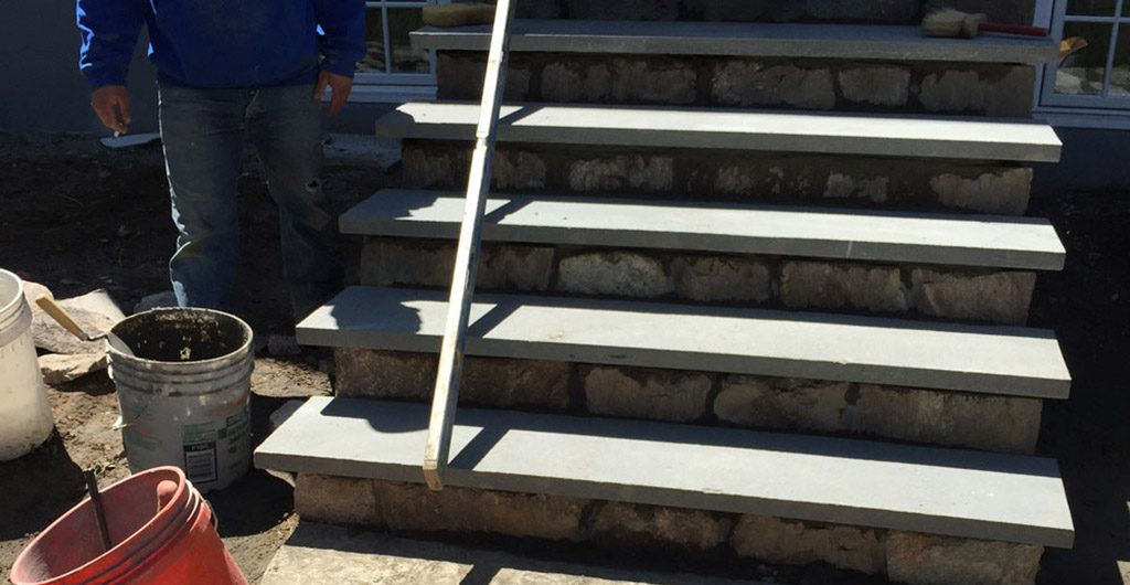 Construction – Stone Staircase Entrance With Wrought Iron Railing 03