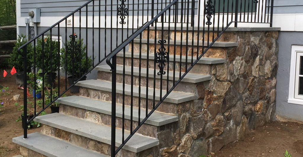 Construction – Stone Staircase Entrance With Wrought Iron Railing 06