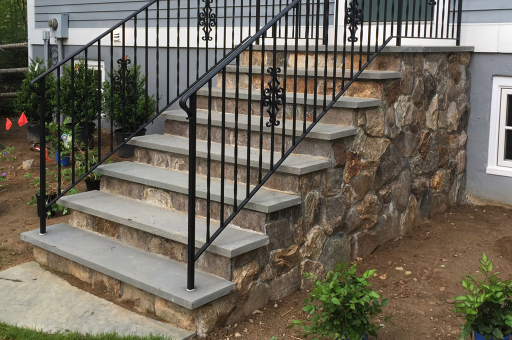 Stone Staircase Entrance with Wrought Iron Railing | John Jay