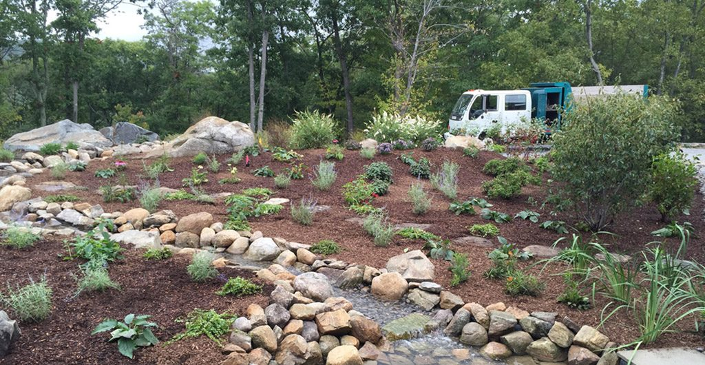 Project Finish – Water Feature With River Rock Pathways 01