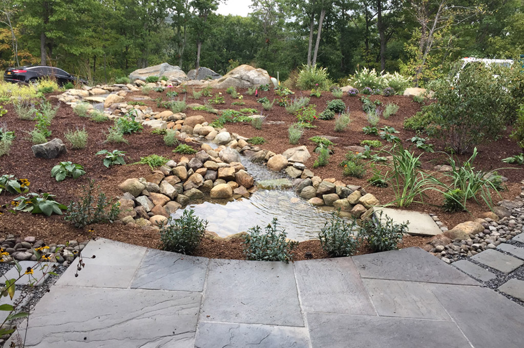 Water Feature With River Rock Pathways Landscape Design