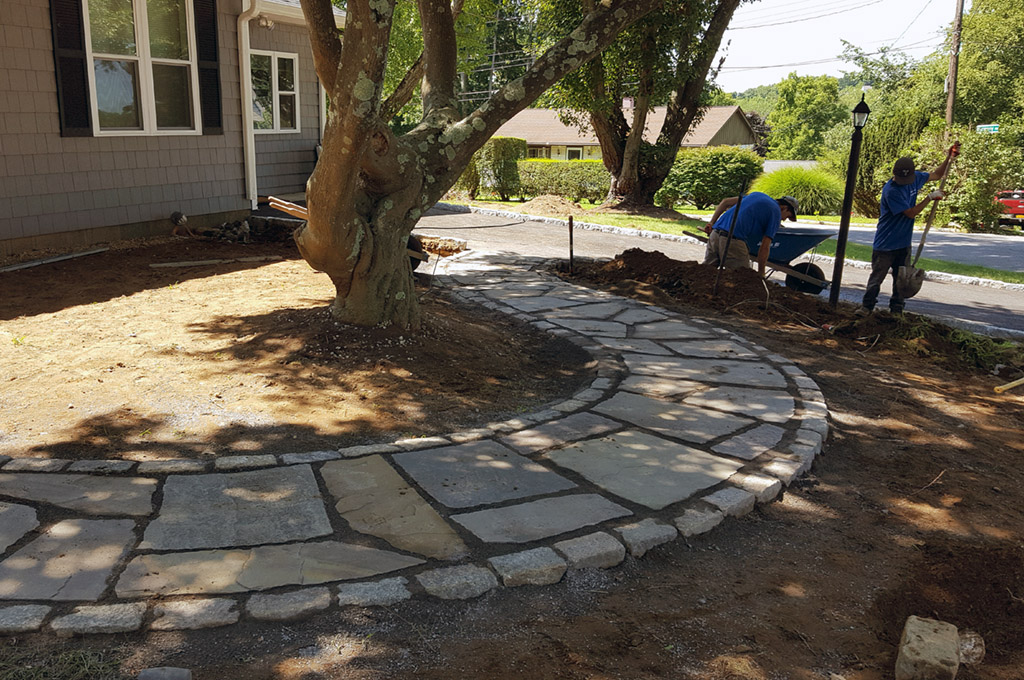 Entrance Stone Walkway Landscaping Patio Deck Storage Shed