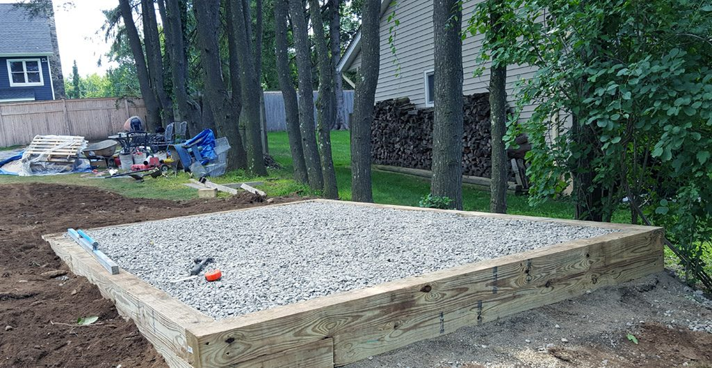 During Construction – Entrance Stone Walkway, Landscaping, Patio Deck & Storage Shed 14