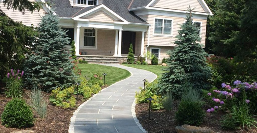 Finished Construcion - Residential Landscaping And Curved Entry Pathway