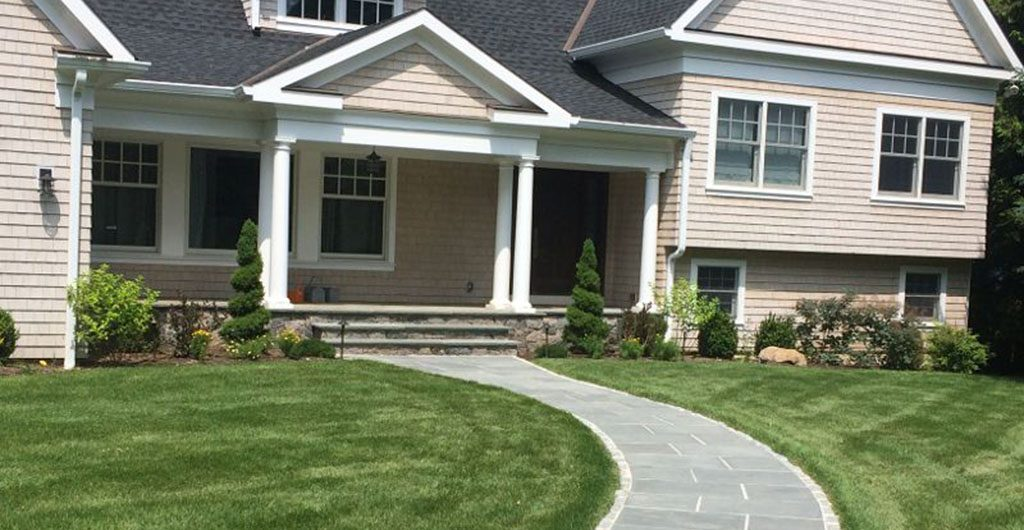 Finished Construction - Residential Landscaping And Curved Entry Pathway